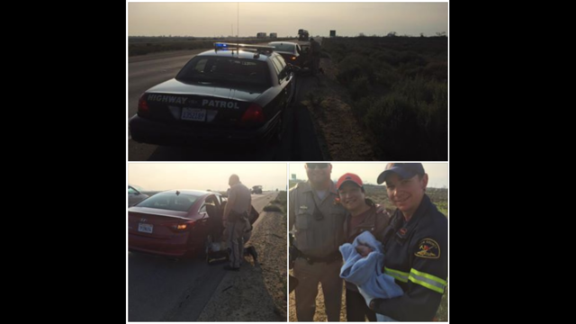 Woman gives birth to baby boy on the side of Interstate 5, just north of Highway 43
